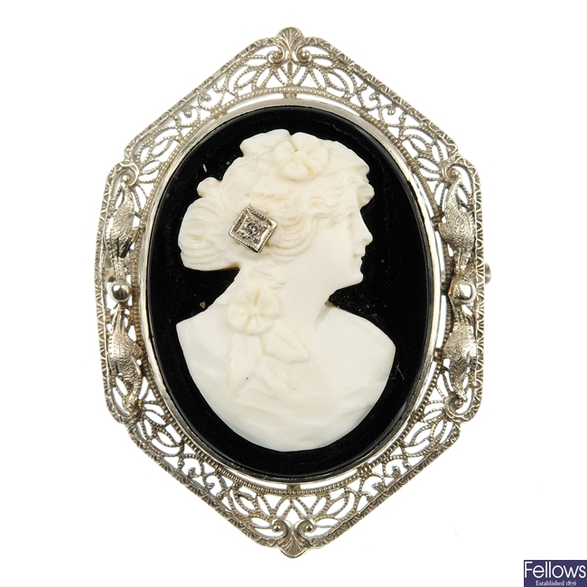 A cameo and diamond brooch.