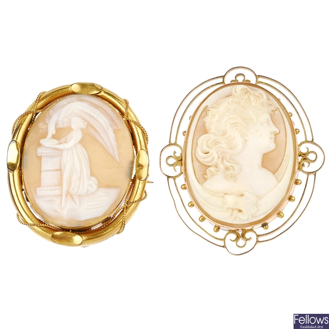 Two shell cameo brooches.