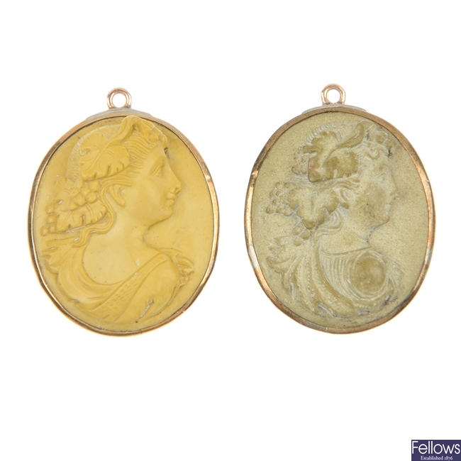 Two late 19th century lava cameo pendants, tiger claw pendant and cased rolled gold bracelet.
