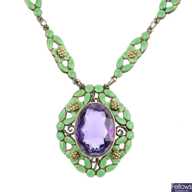 An amethyst and green enamel necklace.