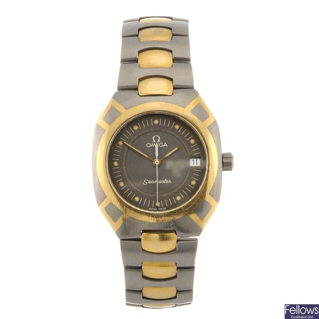 A titanium quartz gentleman's Omega Seamaster bracelet watch.