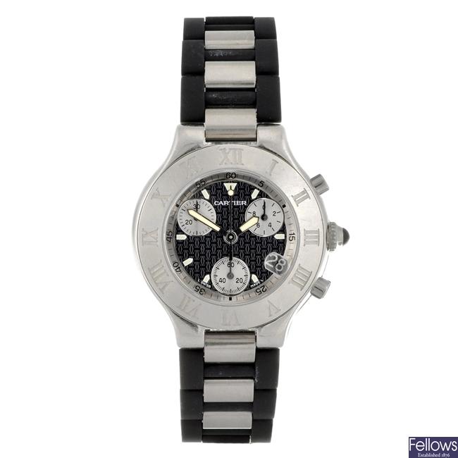 A stainless steel quartz gentleman's chronograph Cartier wrist watch.