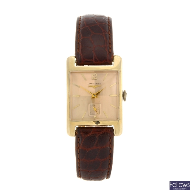 A 14k gold manual wind gentleman's Longines wrist watch.