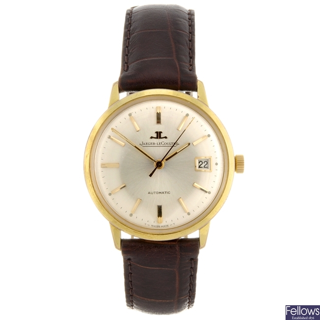 A gold plated automatic gentleman's Jaeger LeCoultre wrist watch.