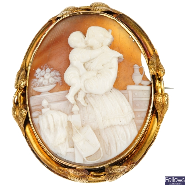 A selection of four cameo brooches