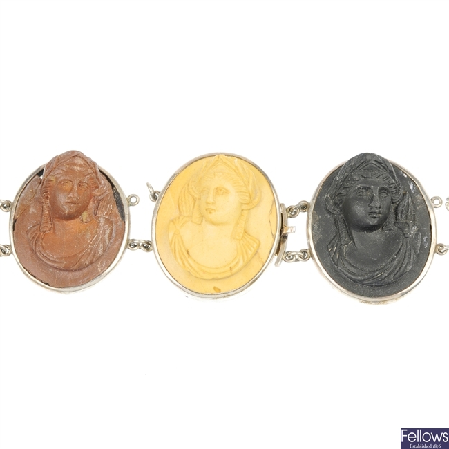 A lava cameo bracelet and a cameo ring.