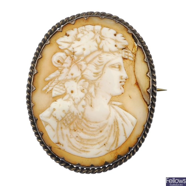 A selection of cameo brooches.