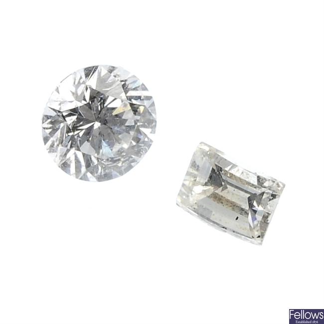 Seven vari-cut diamonds.
