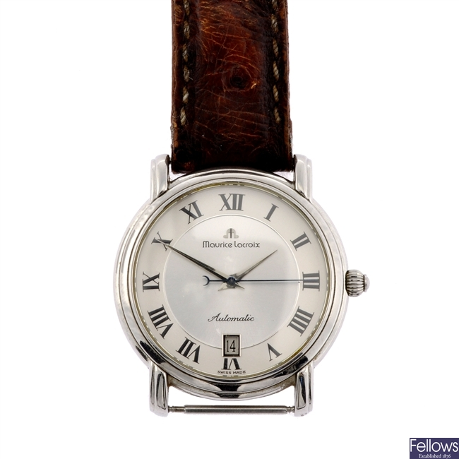 A stainless steel automatic gentleman's Maurice Lacroix wrist watch.