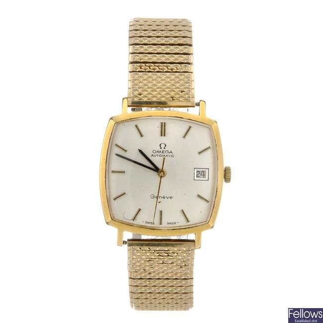 A bi-colour automatic gentleman's Omega Geneve bracelet watch.