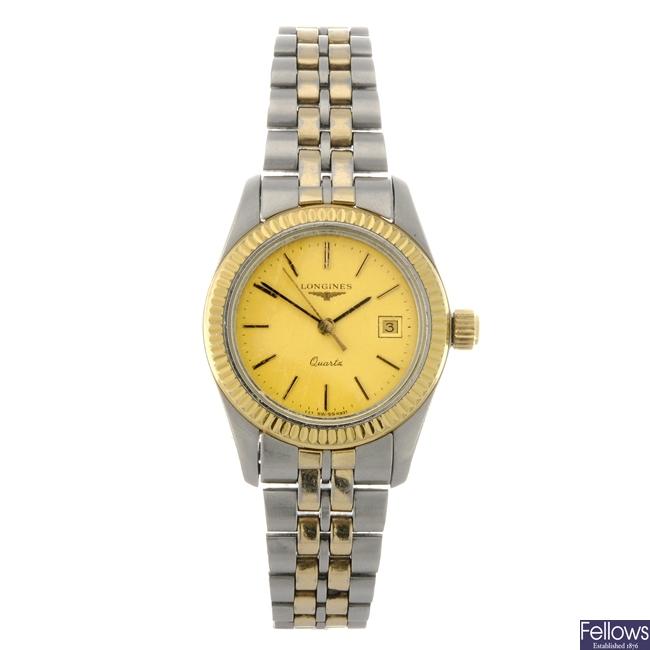 A bi-colour quartz lady's Longines bracelet watch.