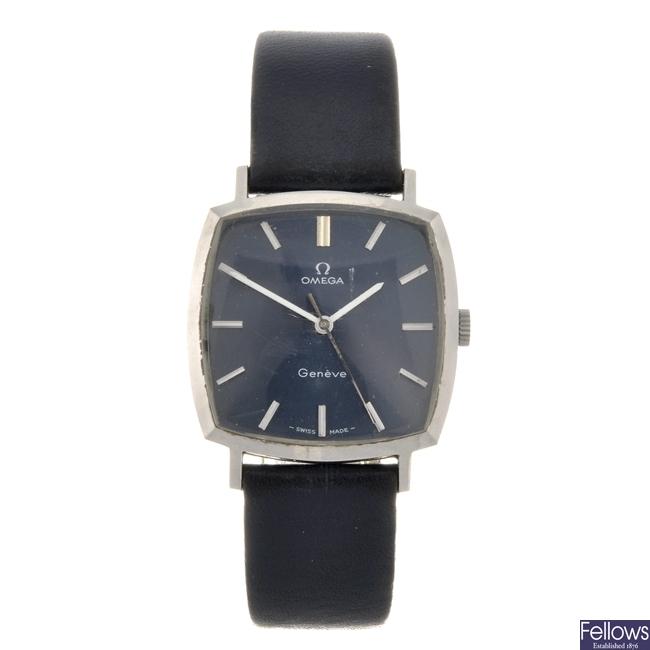 A stainless steel manual wind gentleman's Omega Geneve wrist watch.