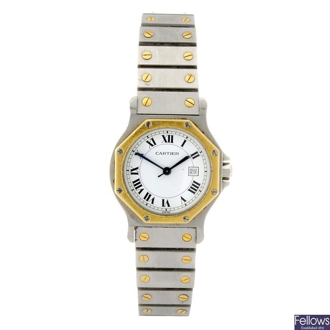 A bi-metal automatic gentleman's Cartier Santos Ronde bracelet watch.