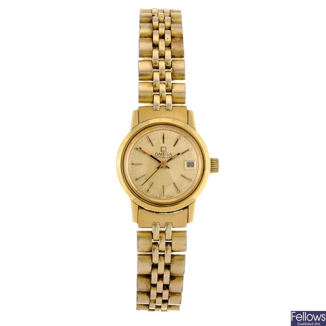 A gold plated automatic lady's Omega bracelet watch.