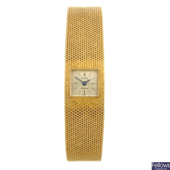 A gold manual wind lady's Piaget Asprey bracelet watch.