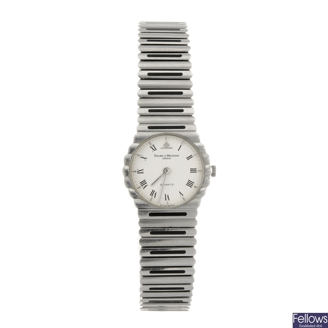 A stainless steel quartz lady's Baume & Mercier bracelet watch. A/F.