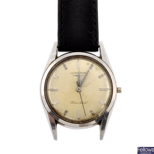A stainless steel manual wind gentleman's Longines Silver Arrow wrist watch.