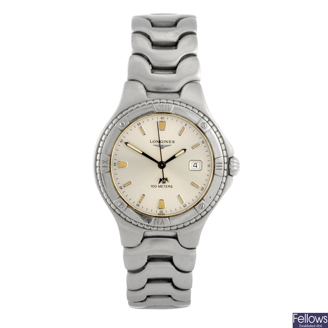 A stainless steel quartz gentleman's Longines bracelet watch.