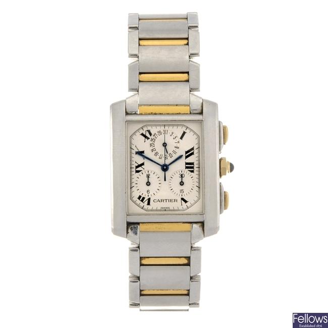 A bi-metal quartz gentleman's Cartier Tank Francaise ChronoReflex bracelet watch.