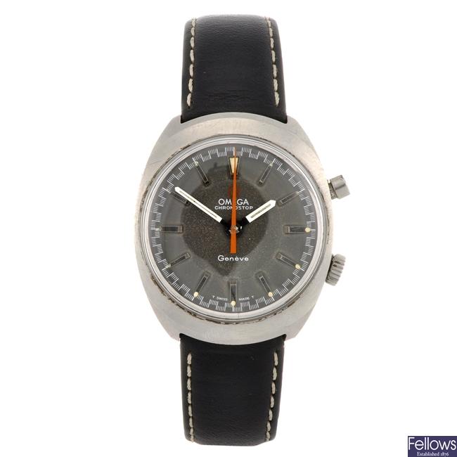 A stainless steel manual wind gentleman's Omega Chronostop wrist watch.