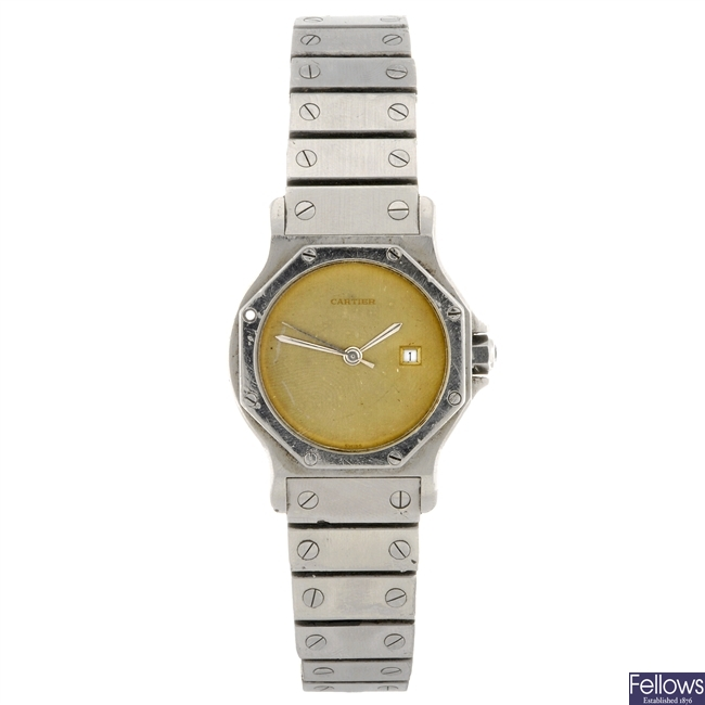 A stainless steel automatic gentleman's Cartier Santos bracelet watch.
