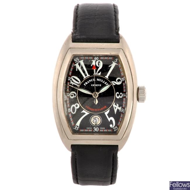 (207292312) An 18ct white gold automatic gentleman's Franck Muller Conquistador wrist watch.
