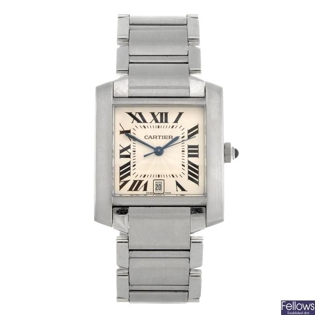 (710007050) A stainless steel automatic gentleman's Cartier Tank Francaise bracelet watch.