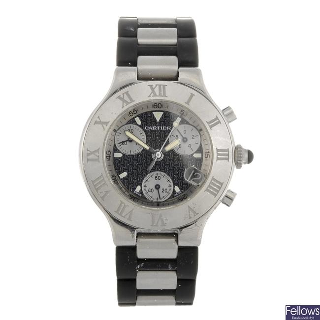 (82542) A stainless steel quartz gentleman's Cartier Chronoscaph 21 wrist watch.