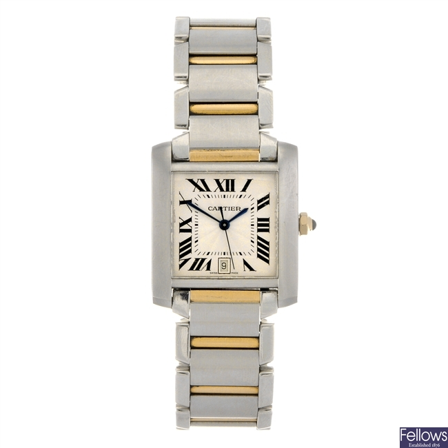 (81928) A bi-metal automatic gentleman's Cartier Tank Francaise bracelet watch.