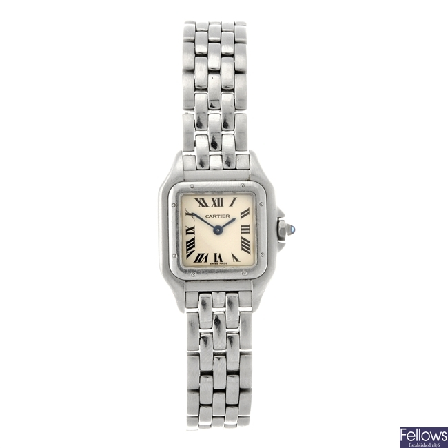 (311118453) A stainless steel quartz lady's Cartier Panthere bracelet watch.