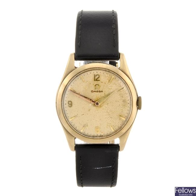 (702067925) A 9ct gold manual wind gentleman's Omega wrist watch.