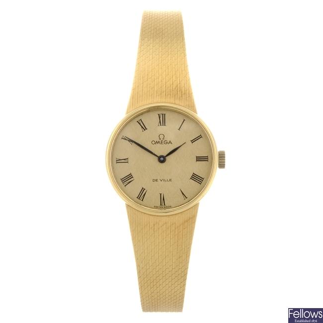 (301149823)  An 18k gold manual wind lady's Omega De Ville bracelet watch.