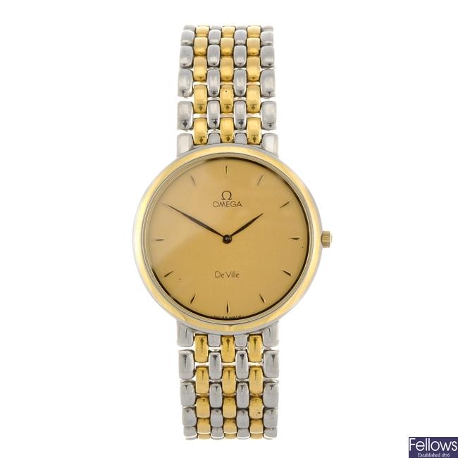 (BT8) A bi-colour quartz gentleman's Omega De Ville bracelet watch.