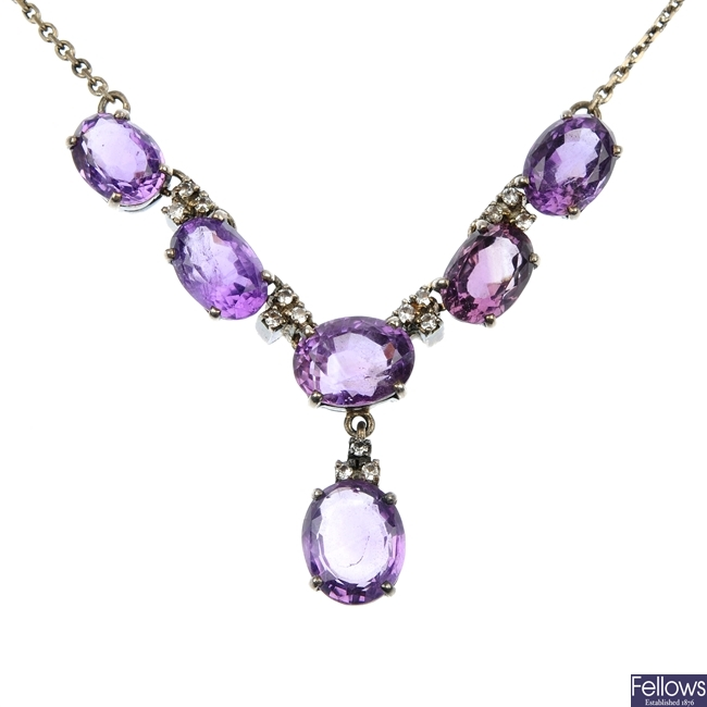 An amethyst and colourless paste necklace.