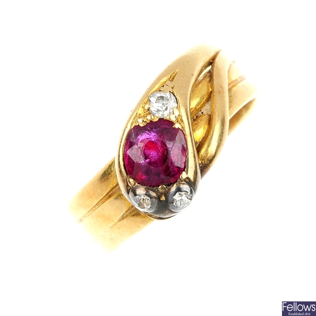 A late 19th century 18ct gold, ruby and diamond snake ring.