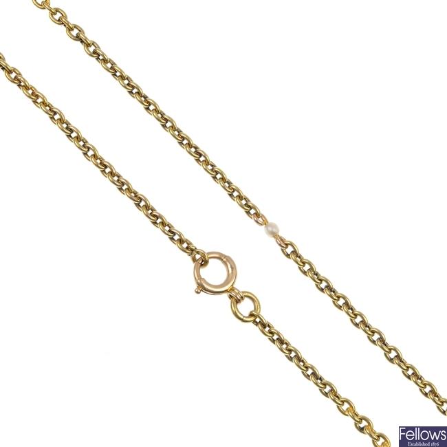 An 18ct gold, seed pearl longuard chain.