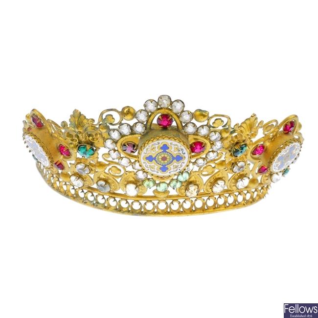 A mid 20th century enamel and paste tiara.