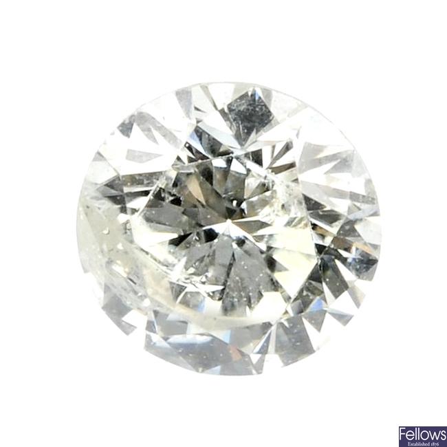A brilliant-cut diamond, weighing 0.55ct.