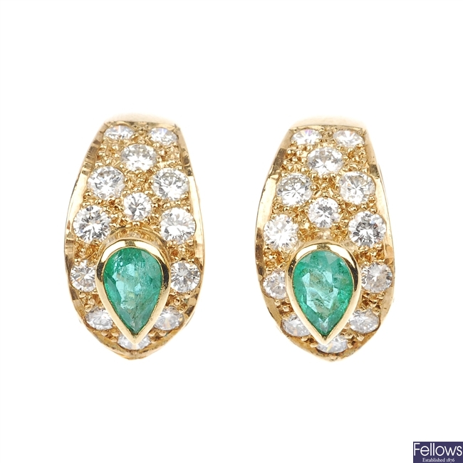 A pair of emerald and diamond ear clips.