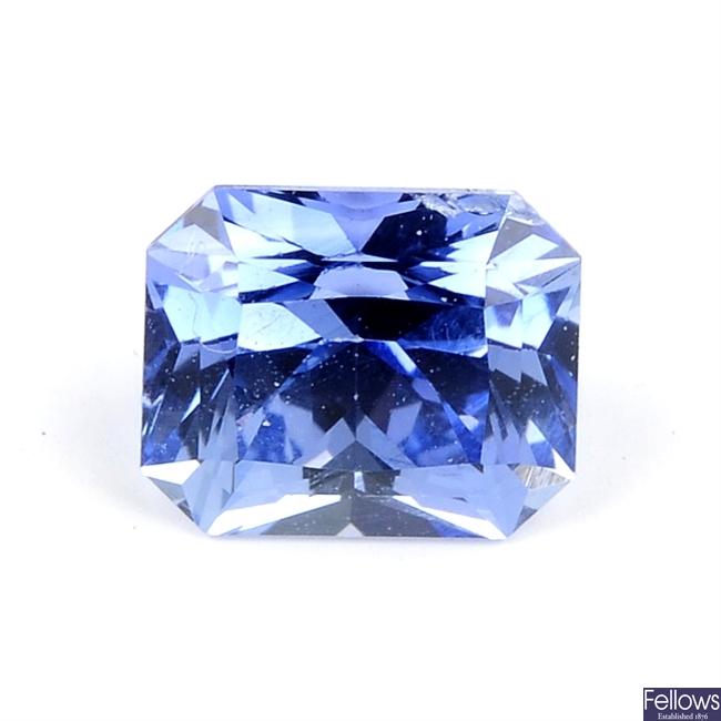 A rectangular-shape sapphire, weighing 1.07cts.
