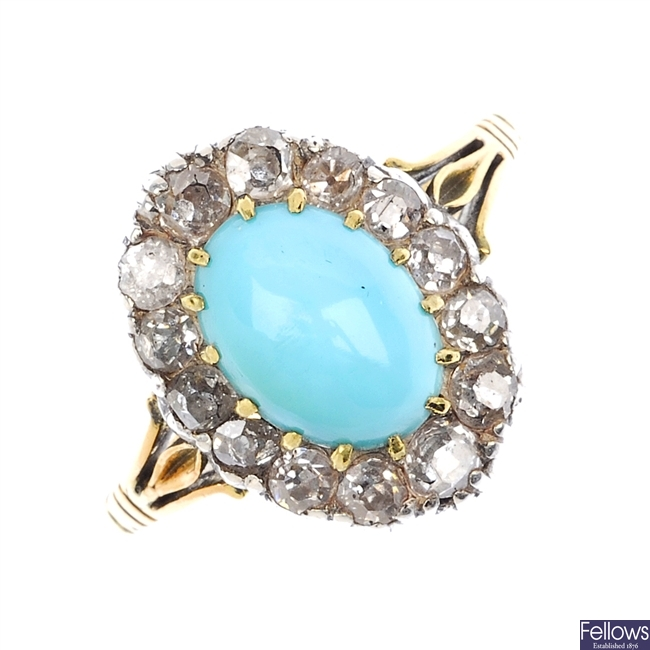An early 20th century gold turquoise and diamond ring.