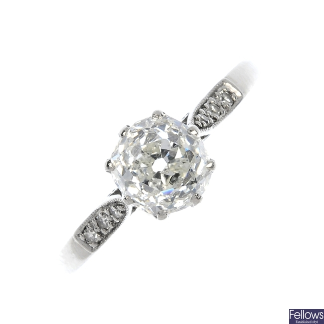 An early 20th century 18ct gold and platinum diamond single-stone ring.