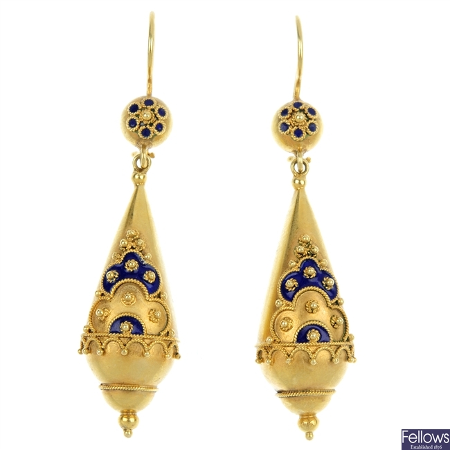 A pair of late 19th century 15ct gold ear pendants.