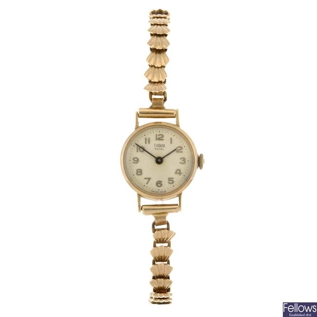 A 9ct gold manual wind lady's Tudor Royal bracelet watch.