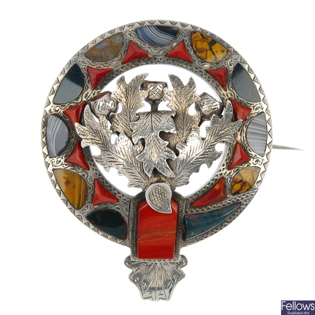 A late Victorian Scottish agate thistle brooch.