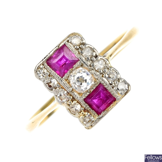 A mid 20th century 18ct gold and platinum ruby and diamond dress ring.