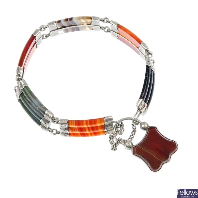 An agate bracelet.