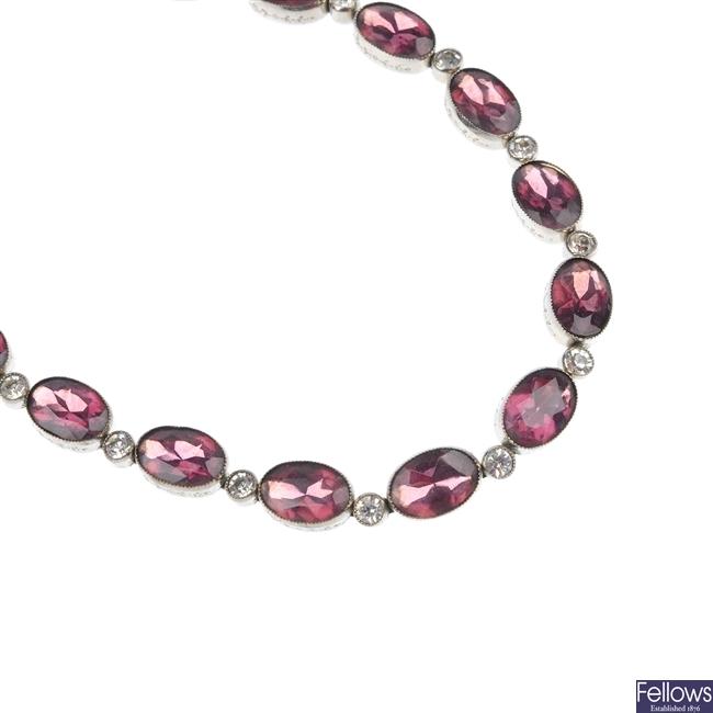 A paste necklace and bracelet.
