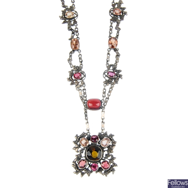 An early/mid 20th century Austro-Hungarian tourmaline, garnet and zircon necklace.