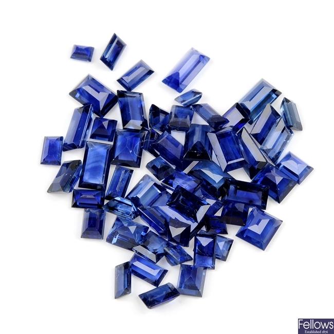 A selection of rectangular-shape sapphires.